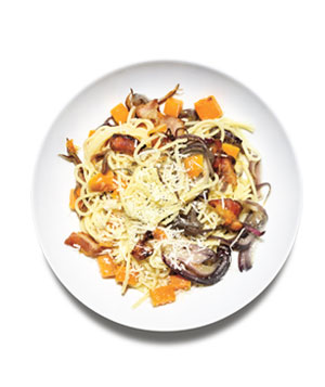 Spaghetti With Bacon and Squash
