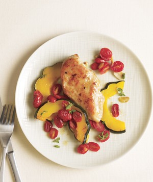 Chicken With Acorn Squash and Tomatoes