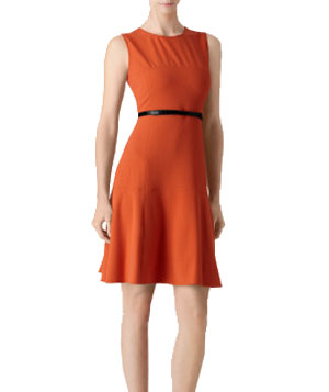 Calvin Klein Solid Belted Fit and Flare Dress