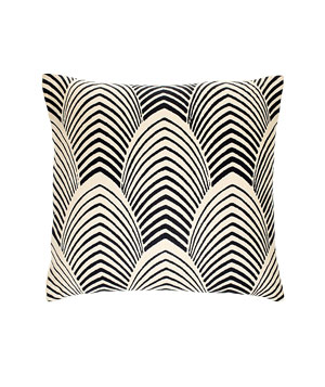 Navy Arches hand-printed linen pillow with feather-and-down fill