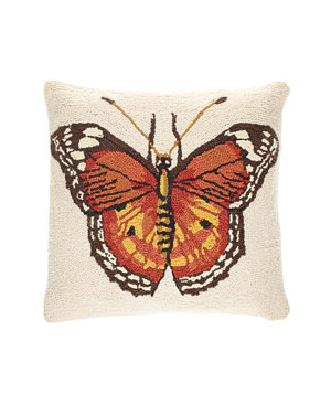 Butterfly wool-front, linen-backed pillow with down fill