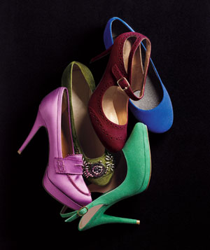 Small pile of jewel-tone, textured shoes