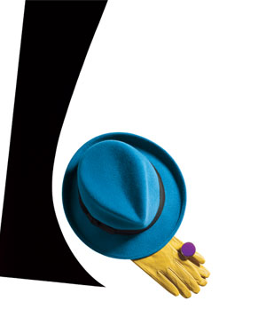 Blue felt fedora hat, yellow leather gloves and purple fur ring