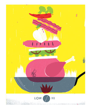 Illustration of a tall stack of food sitting on a frying pan on a stovetop