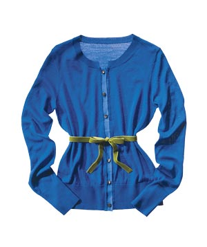 Blue knot cardigan with green ribbon belt