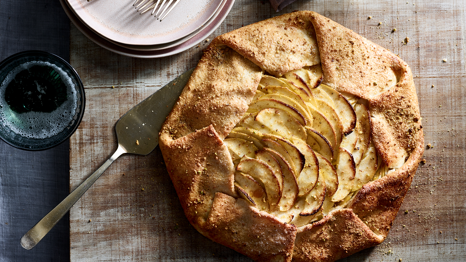 Honey-Apple Galette With Pistachio Sugar