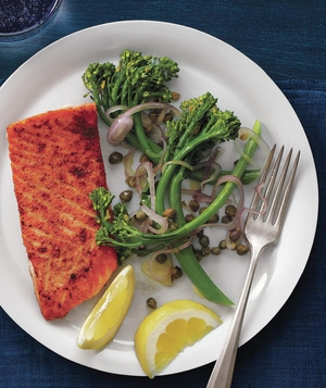 Coriander Salmon With Caper Broccolini