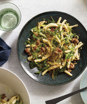 Pasta With Sausage, Arugula, and Crispy Bread Crumbs