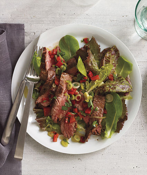 Steak Salad With Roasted Red Pepper Relish