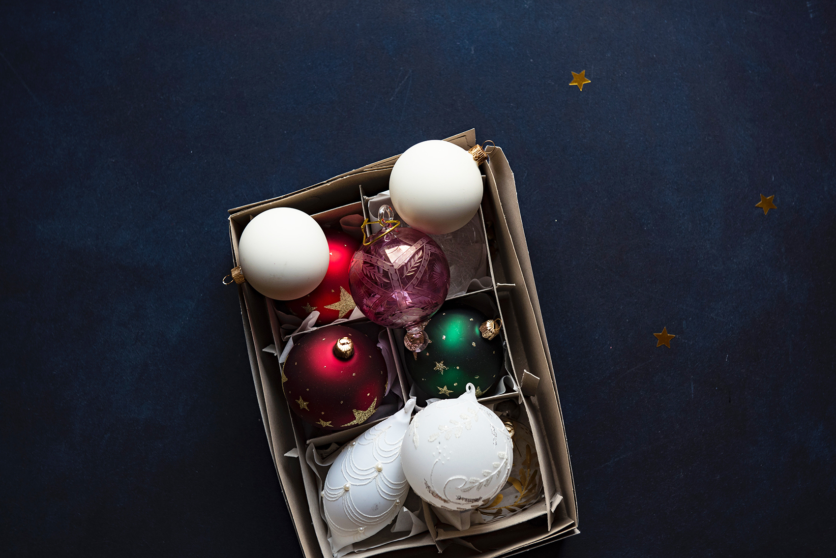 box of holiday ornaments decluttering solutions