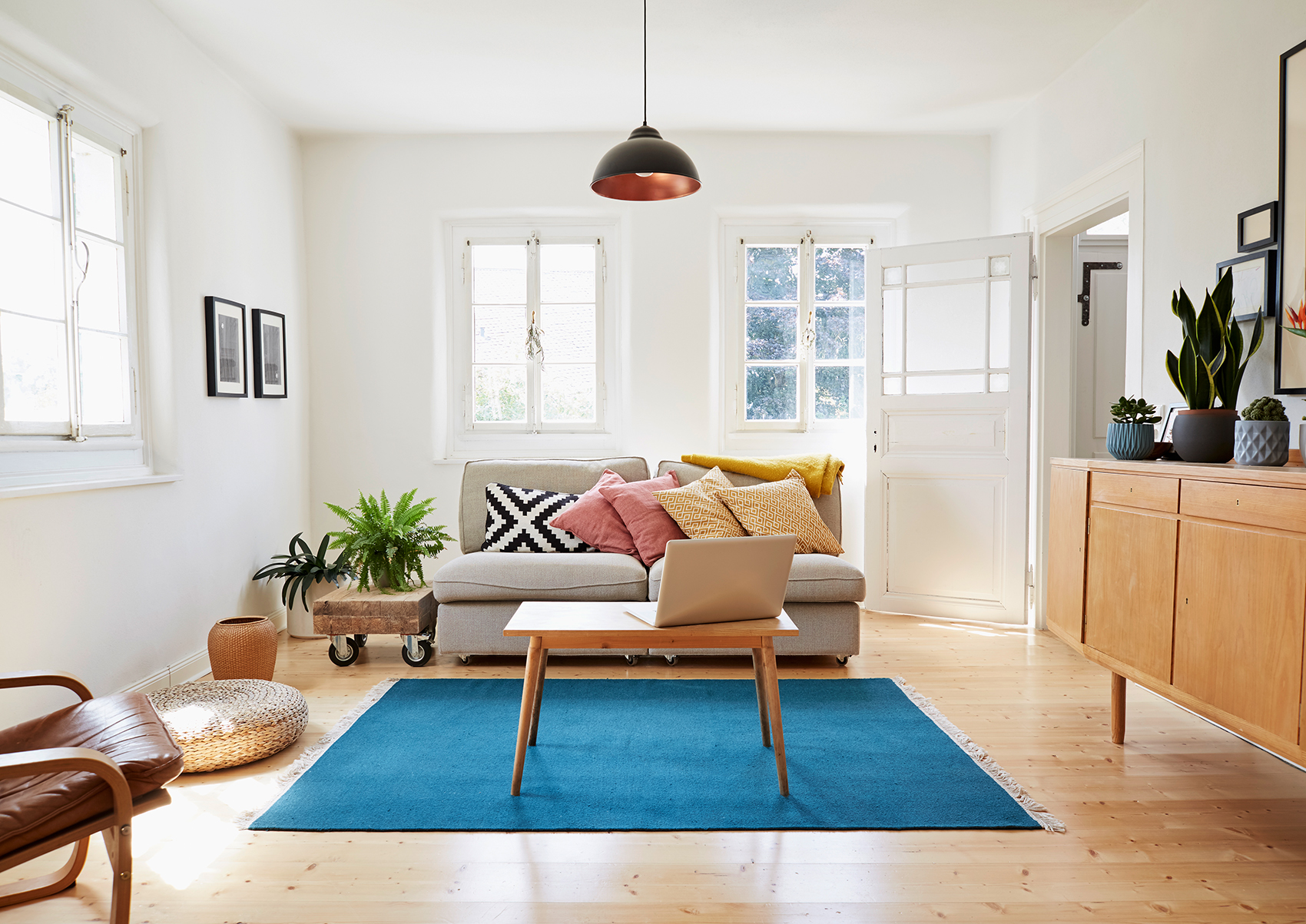 Light airy living room decluttering solutions