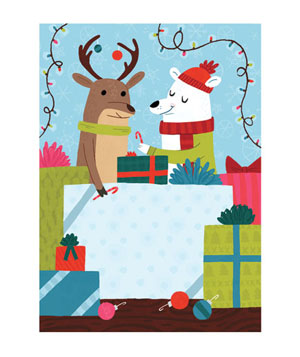 Holiday card illustration of a polar bear giving a raindeer a candy cane