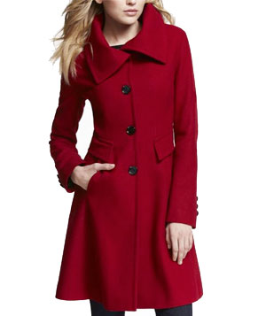 Express Wool Blend Long Fit and Flare Coat