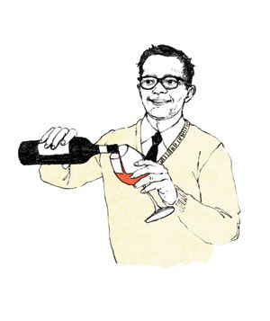 Illustration of a man pouring wine