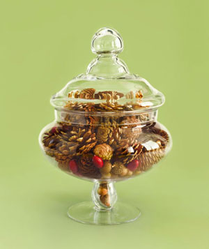 Bowl filled with a seasonal blend of walnuts, acorns and cranberries