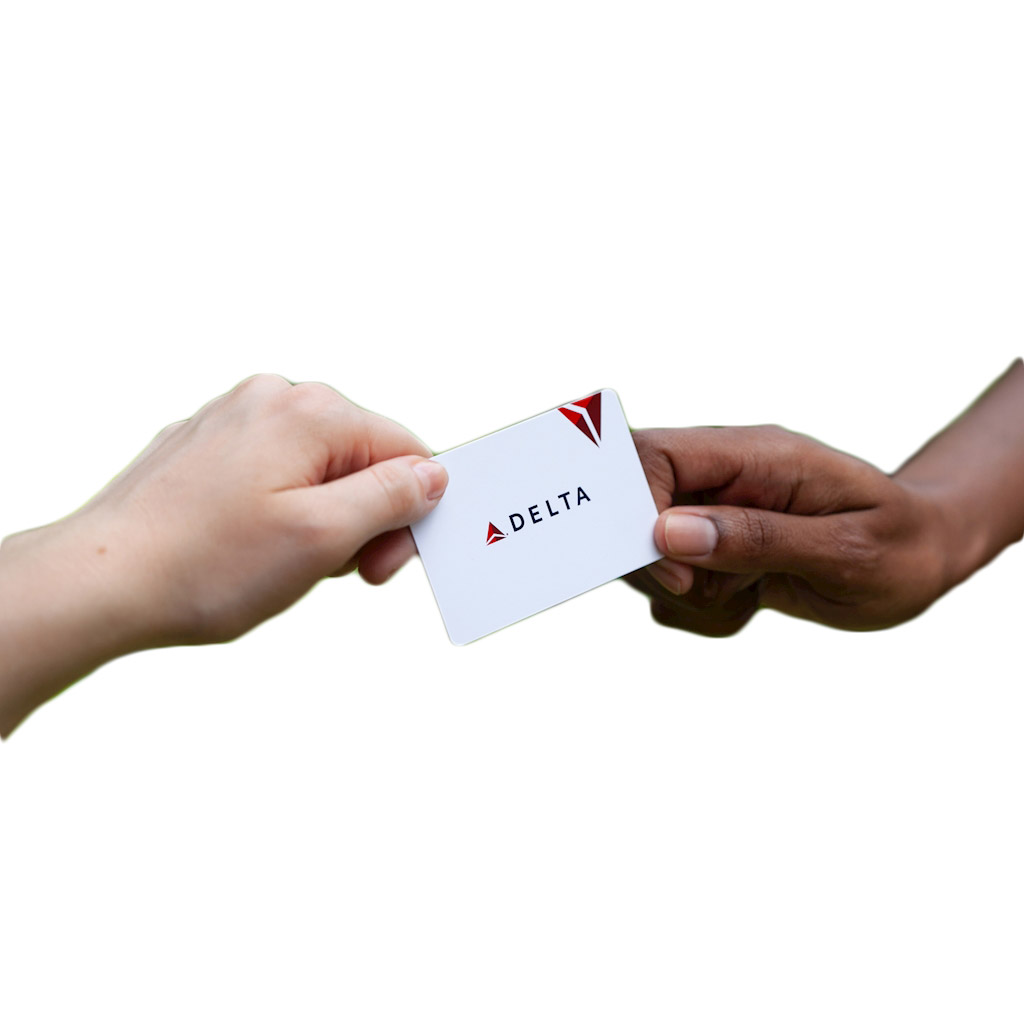 Gift card ideas - delta gift card changing hands