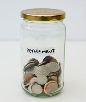 Coins in retirement jar
