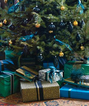 Holiday gifts under a decorated tree
