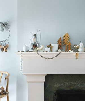 Mantel with Scandinavian holiday decorations