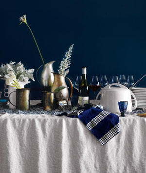 Sideboard decorated for Hanukkah