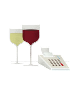 Illustration of wine glasses and a calculator