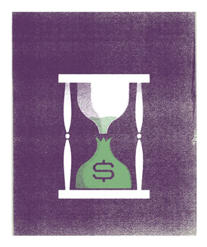 Illustration of a hourglass, with the sand pouring in a money bag