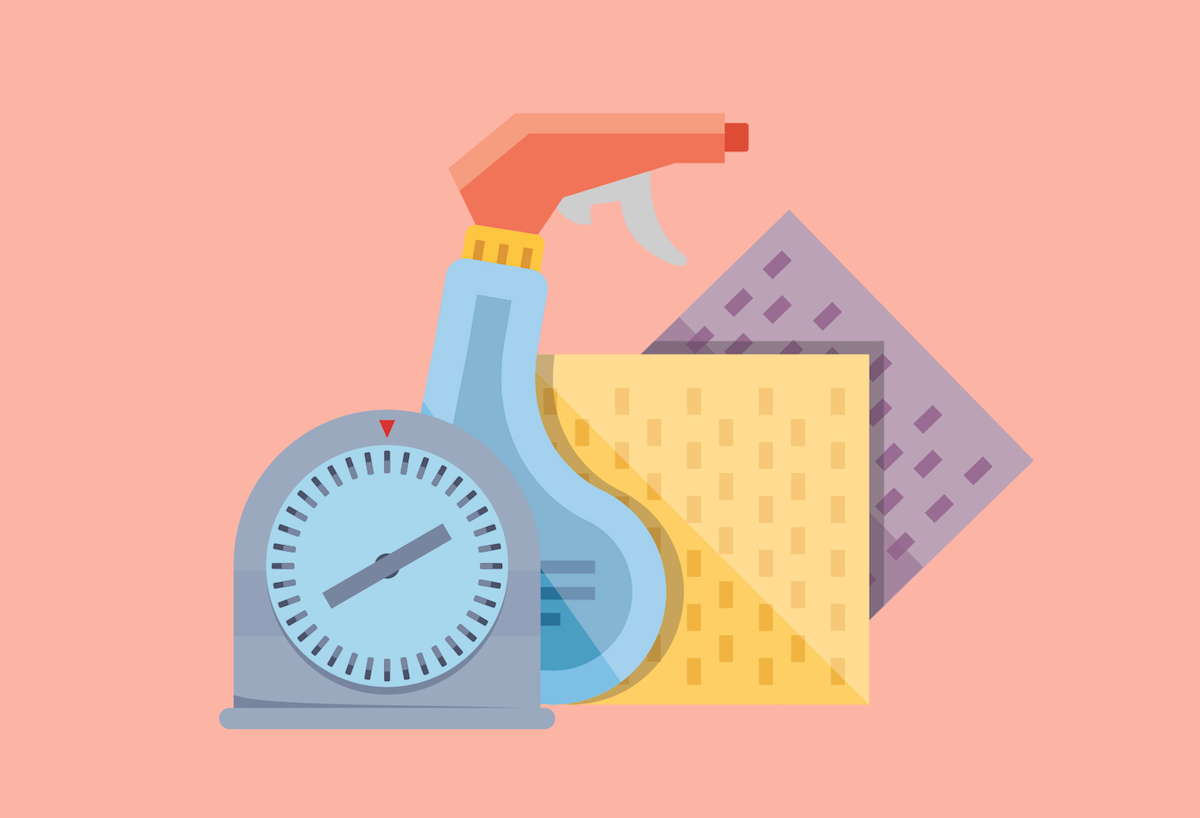 Speed Cleaning Routines, illustrated cleaning supplies