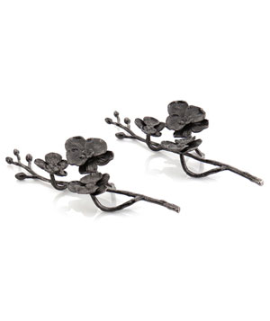 Black Orchid napkin rings