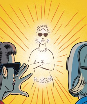 Illustration of 2 people looking at a shining apparition