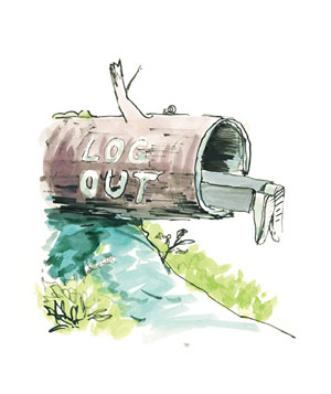Illustration of a person hanging out of a hollow log