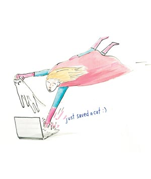 Illustration of supergirl with cat in hand typing on laptop
