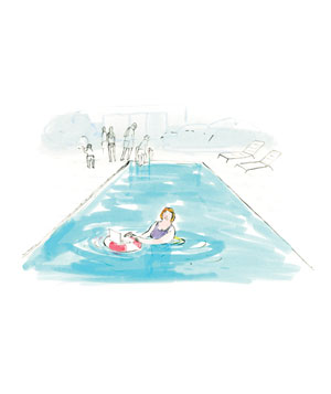 Illustration of woman in pool on laptop
