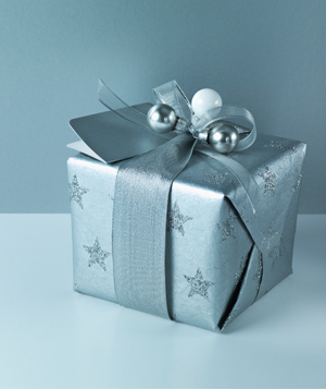 Present wrapped in blue wrapping paper