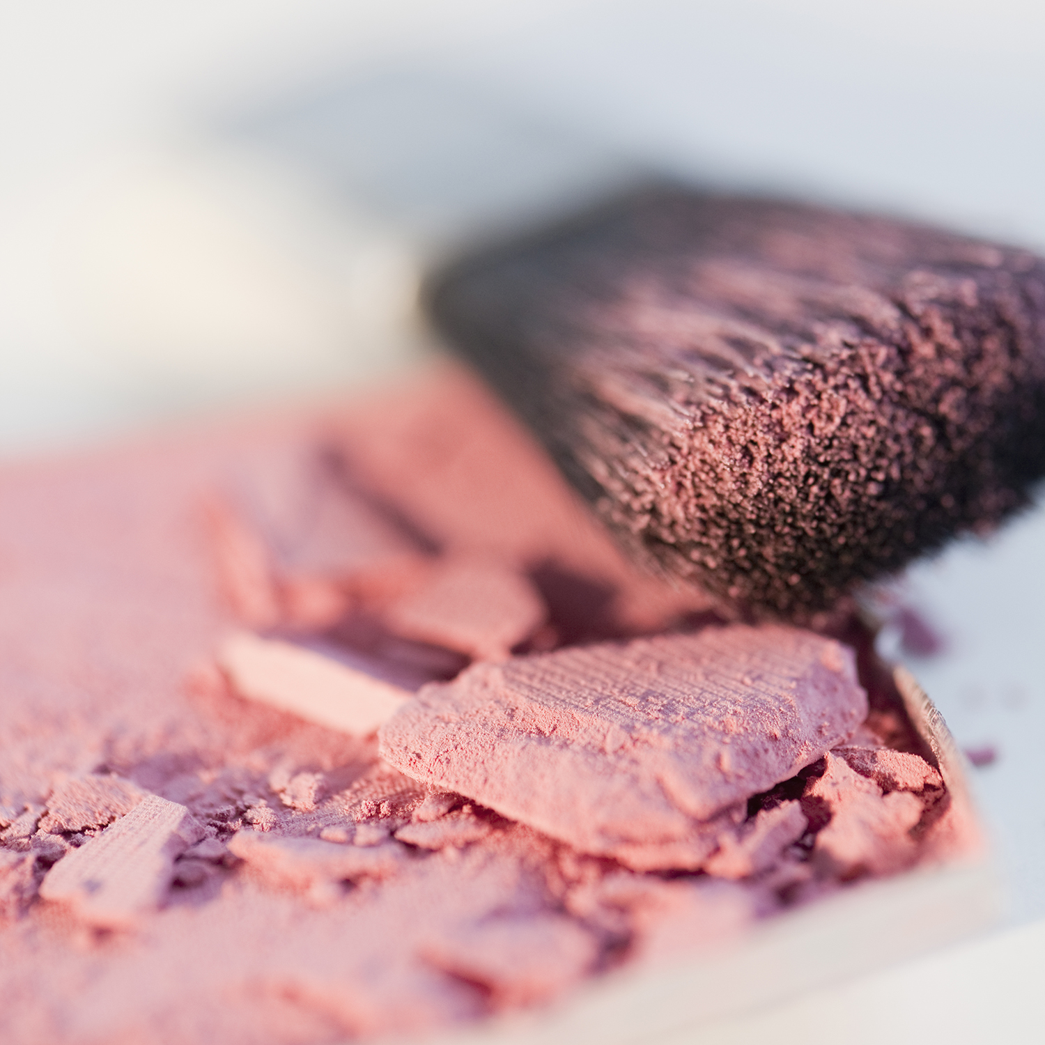 Closeup of pink blush makeup