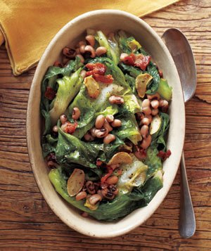 Black-eyed Peas With Bacon and Escarole