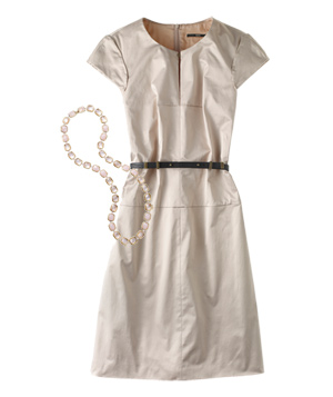Beige dress with pink necklace