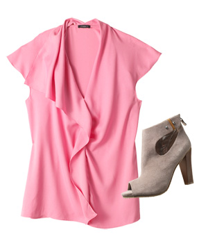 Pink blouse with beige heels