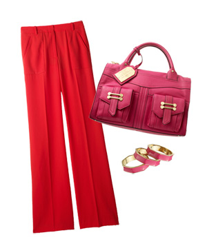 Red pants with pink purse and bangles