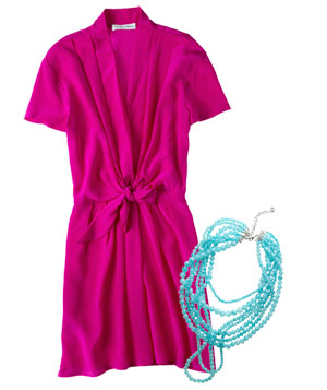 Magenta dress with turquoise necklace