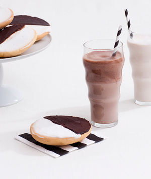 Black and white cookies with milk