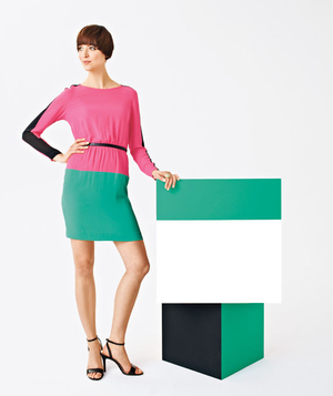 Pink and green polyester dress