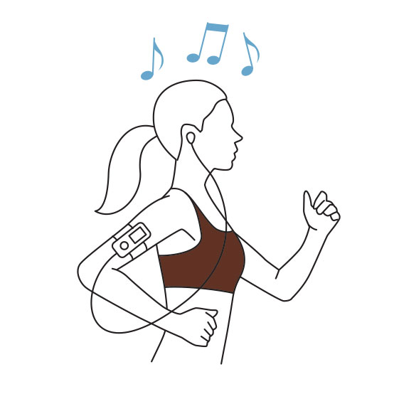 Illustration of a woman listening to music
