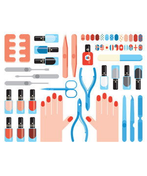 Illustration of nails and nail accessories