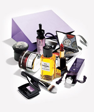 Beauty products with purple bag