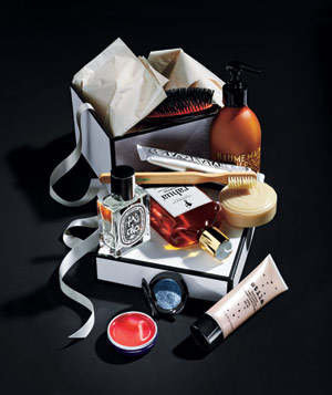 Beauty products with purple box
