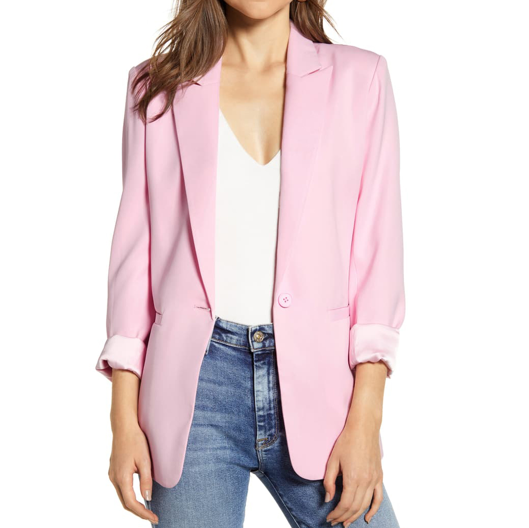 Endless Rose Tailored Single Button Blazer in blush pink