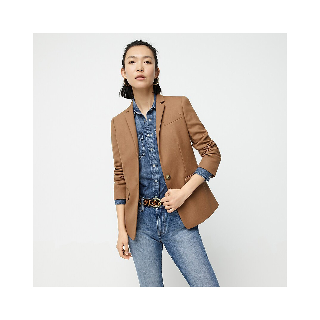 J. Crew Regent Blazer in Wool Flannel in warm caramel color