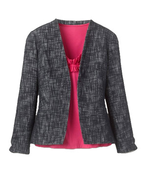 Coldwater Creek Linen Blend Tweed Jacket