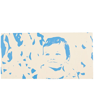 Painting of baby in blue and beige