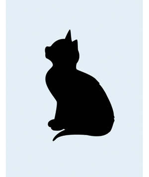 Silhouette of a cat on blue background